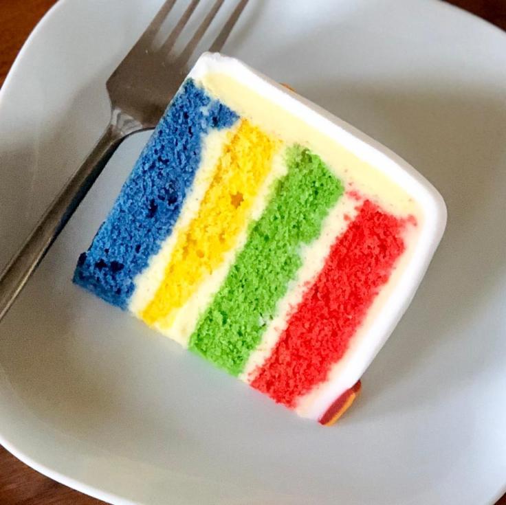 Cake slice in Hogwarts House colours